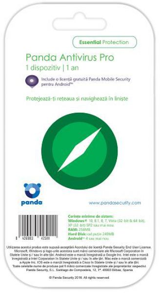 Panda Anti-Virus PRO, 1 PC, 1 An + Licenta Android